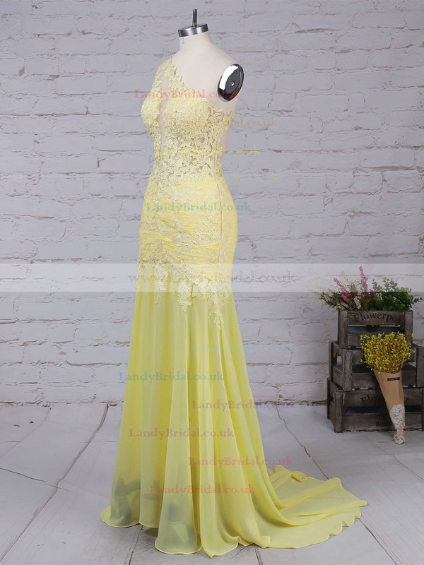 Trumpet/Mermaid One Shoulder Chiffon Sweep Train Appliques Lace Prom Dresses #LDB02016068
