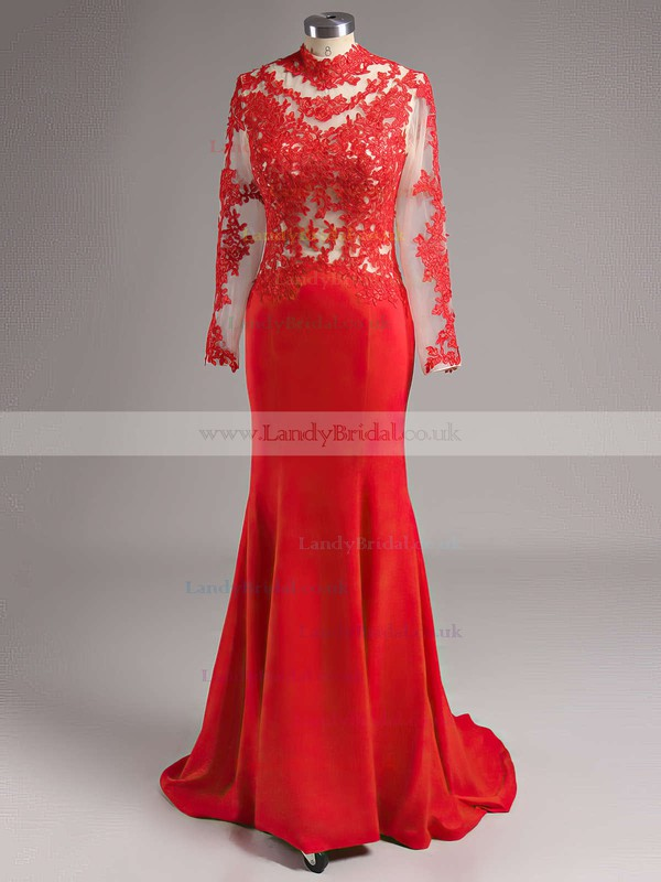 Trumpet/Mermaid High Neck Silk-like Satin Sweep Train Appliques Lace Prom Dresses #LDB02016267