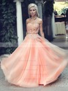 A-line Sweetheart Tulle Floor-length Appliques Lace Prom Dresses #LDB02016777