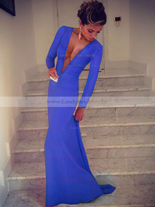 Trumpet/Mermaid V-neck Silk-like Satin Sweep Train Prom Dresses #LDB02016904