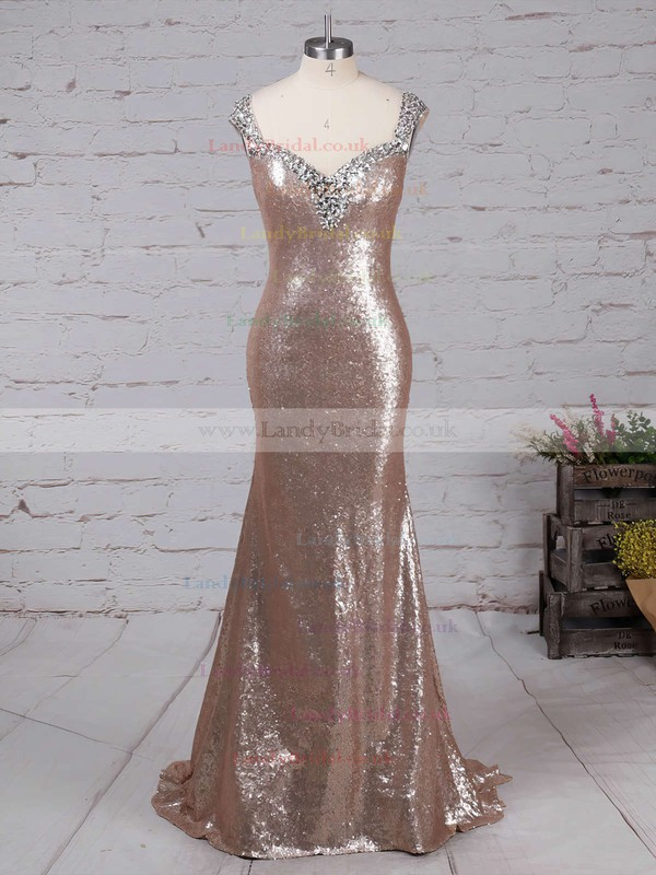 Trumpet/Mermaid V-neck Sequined Sweep Train Beading Prom Dresses #LDB02016911