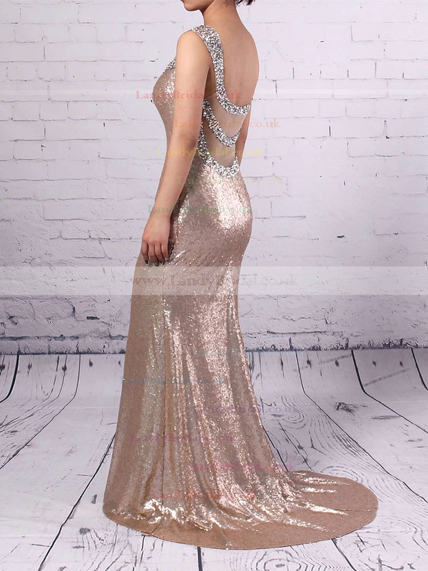 Trumpet/Mermaid V-neck Sequined Sweep Train Beading Prom Dresses #LDB02016911