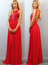 A-line Scoop Neck Chiffon Sequined Floor-length Sequins Prom Dresses #LDB02018684