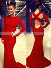 Trumpet/Mermaid Scoop Neck Jersey Sweep Train Prom Dresses #LDB02018992