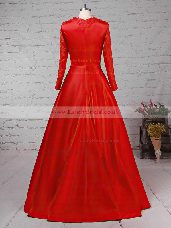 Ball Gown Scoop Neck Satin Sweep Train Appliques Lace Prom Dresses #LDB02023575