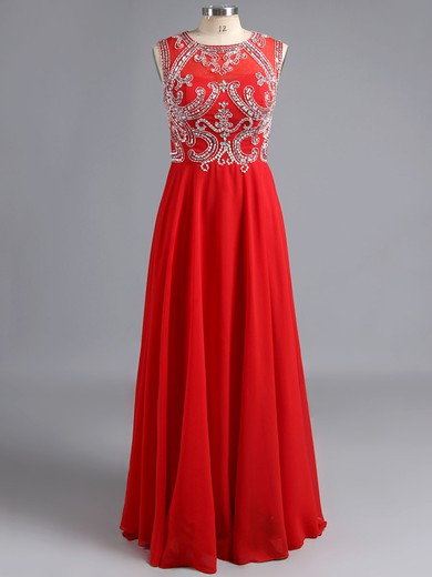 Affordable Chiffon Tulle with Beading Fuchsia Scoop Neck Prom Dresses #LDB02016048