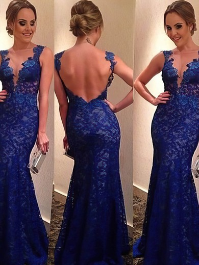 Inexpensive Floor-length Lace Open Back Royal Blue V-neck Prom Dress #LDB02016054