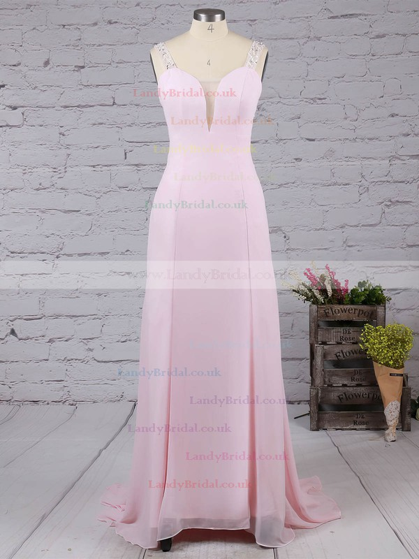 A-line Chiffon Tulle with Beading Pretty Backless Pink V-neck Prom Dresses #LDB02016058