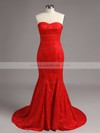 Trumpet/Mermaid Red Lace with Flower(s) Elegant Sweetheart Prom Dress #LDB02016061