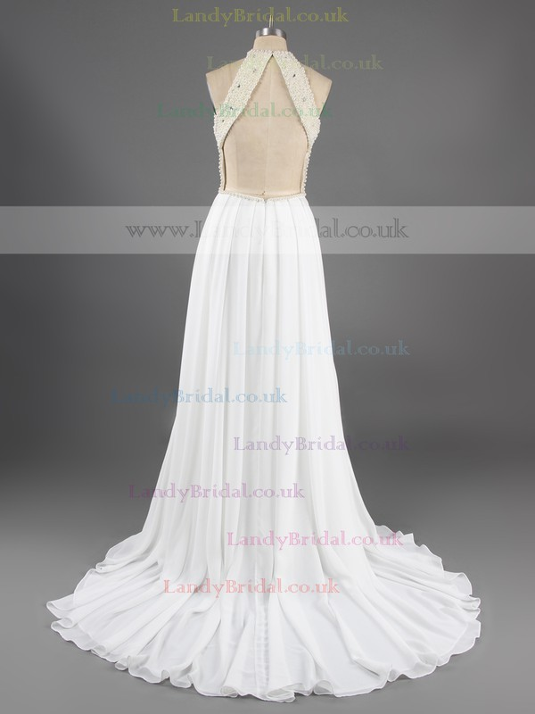 Simple Sweep Train Open Back Chiffon Pearl Detailing Scoop Neck Prom Dress #LDB02016066