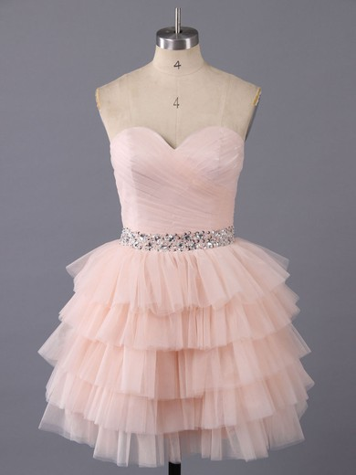 Short/Mini Tiered Tulle Beading Lace-up Sweetheart Pink Prom Dresses #LDB02011963