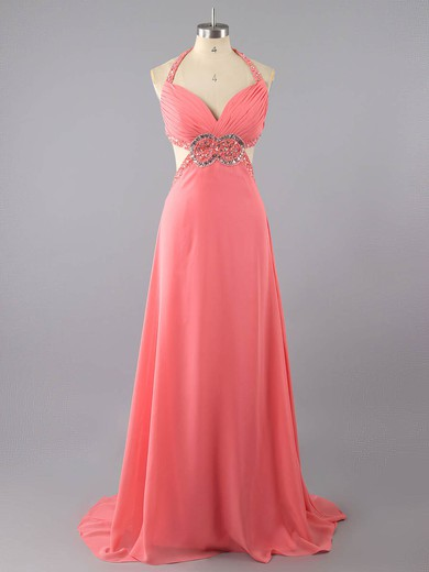 Fabulous V-neck Watermelon Chiffon Crystal Detailing Backless Empire Prom Dresses #LDB02016074