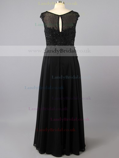Black Chiffon Tulle with Appliques Lace Cap Straps Casual Scoop Neck Prom Dress #LDB02016103