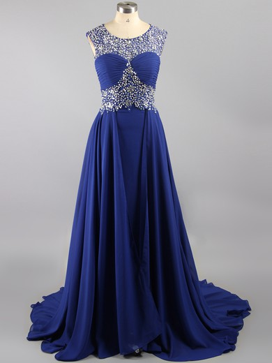Designer Sweep Train Chiffon Tulle with Crystal Detailing Scoop Neck Open Back Prom Dresses #LDB02016110