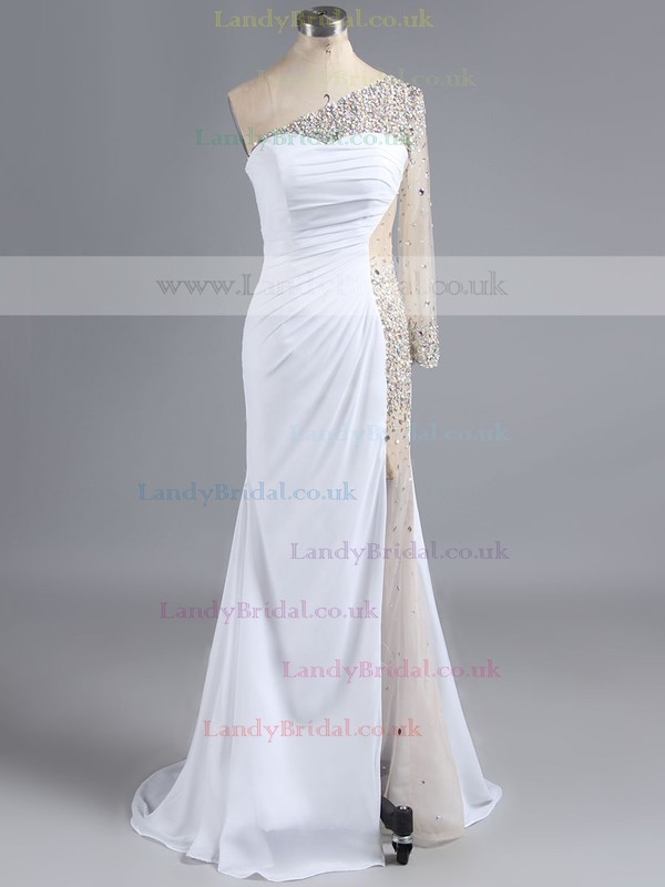 One Shoulder Dark Navy Chiffon Tulle Crystal Detailing Long Sleeve Wholesale Prom Dress #LDB02016113