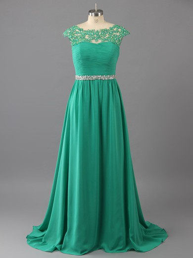 New Sweep Train Green Chiffon with Appliques Lace Backless Scoop Neck Prom Dresses #LDB02016114
