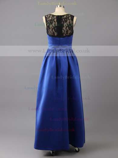 Floor-length Royal Blue Satin with Lace Scoop Neck New Arrival Prom Dresses #LDB02016133