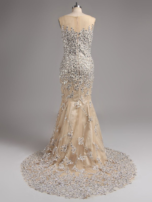 Trumpet/Mermaid New Style Fuchsia Court Train Tulle Beading Scoop Neck Prom Dress #LDB02016136