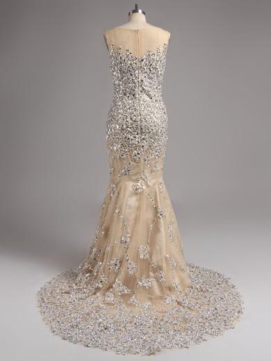 Trumpet/Mermaid New Style Fuchsia Court Train Tulle Beading Scoop Neck Prom Dress #LDB02016136