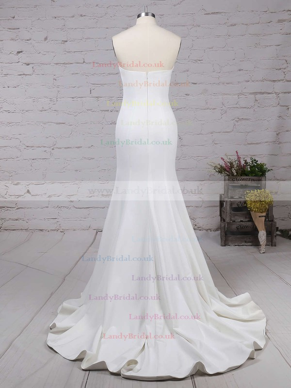 Trendy White Sweep Train Silk-like Satin with Ruffles Strapless Prom Dresses #LDB02016264