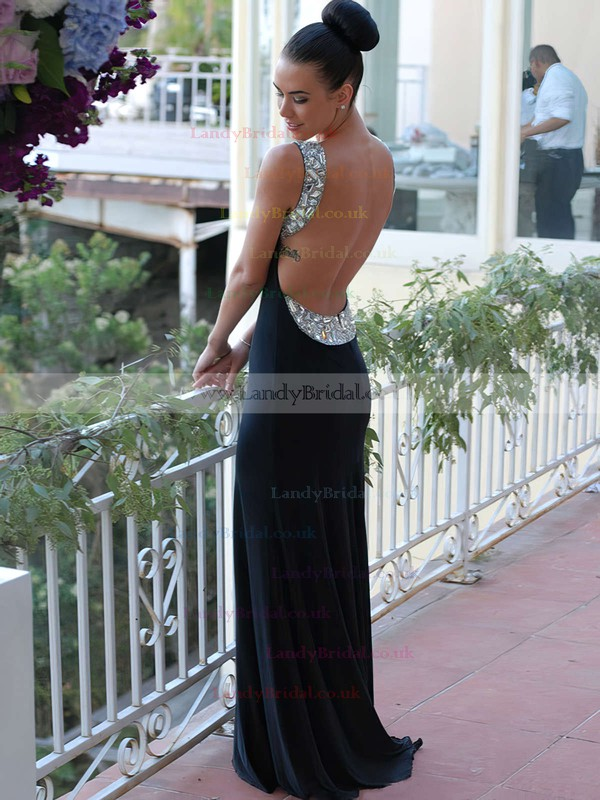 Popular Open Back Scoop Neck Chiffon Crystal Detailing Trumpet/Mermaid Prom Dresses #LDB02016327