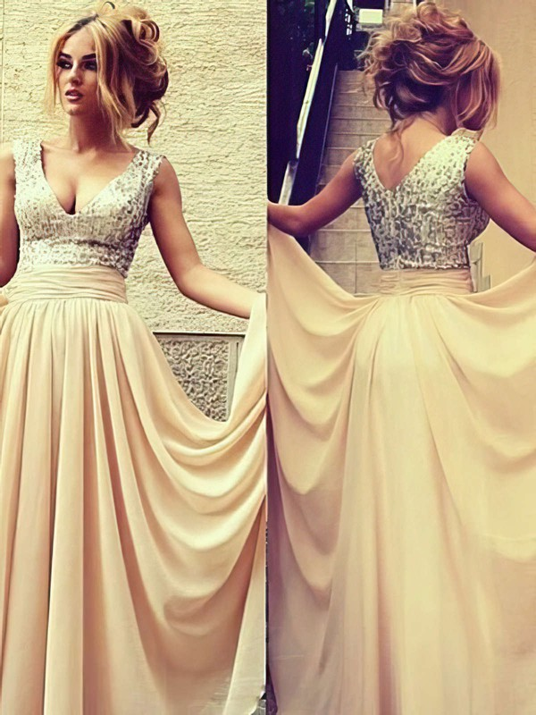 Champagne V-neck Gorgeous Chiffon Sequined Pleats A-line Prom Dress #LDB02016329