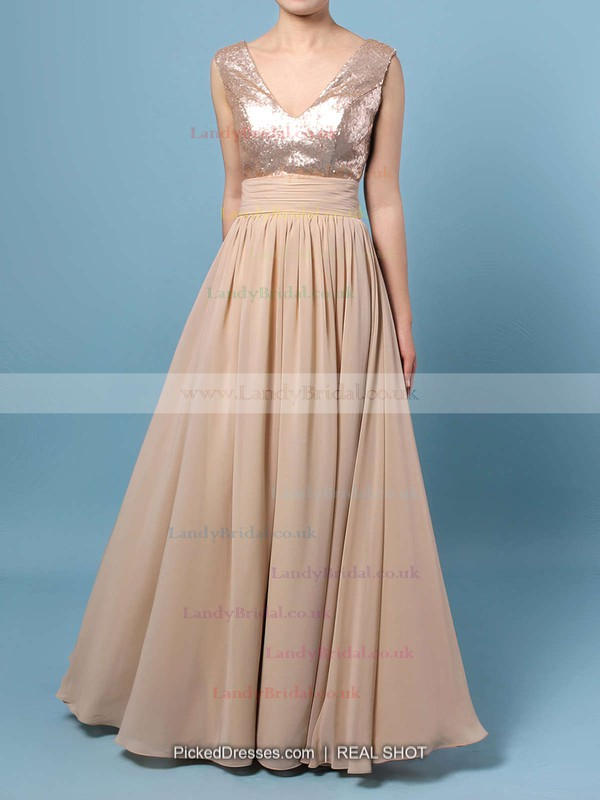A-line V-neck Chiffon Sequined Floor-length Prom Dresses #LDB02016329