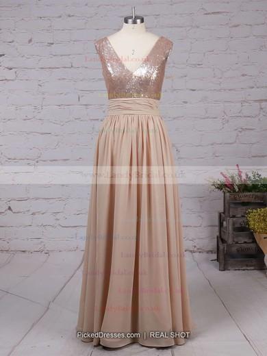 A-line V-neck Chiffon Sequined Floor-length Prom Dresses #LDB02016329