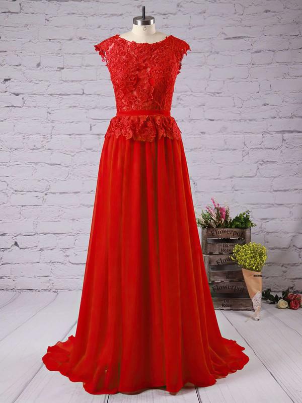 Purple Scoop Neck Beautiful Appliques Lace Cap Straps Chiffon Long Prom Dresses #LDB02016789