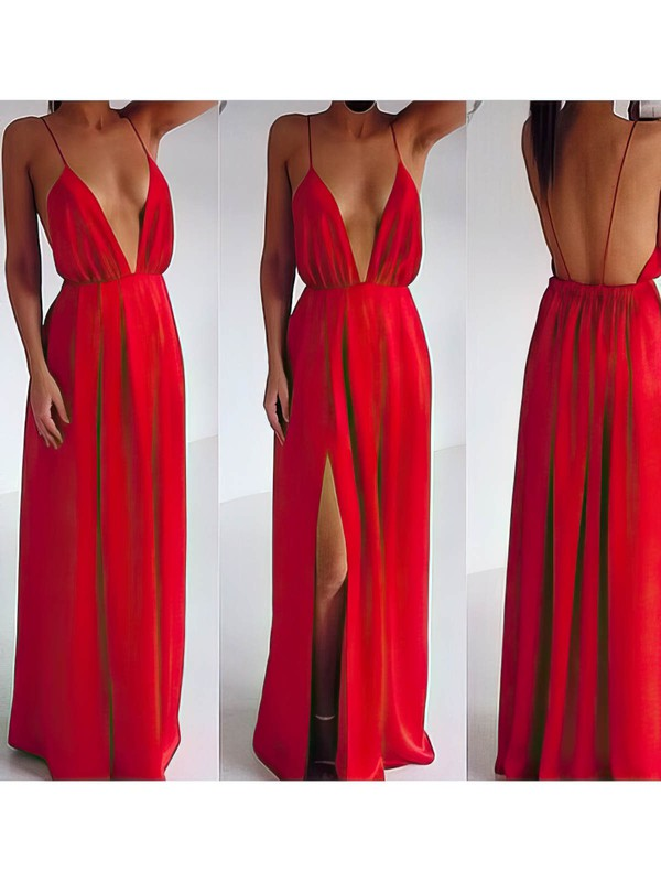 Sheath/Column Red V-neck Split Front Chiffon Coolest Backless Prom Dress #LDB02016790
