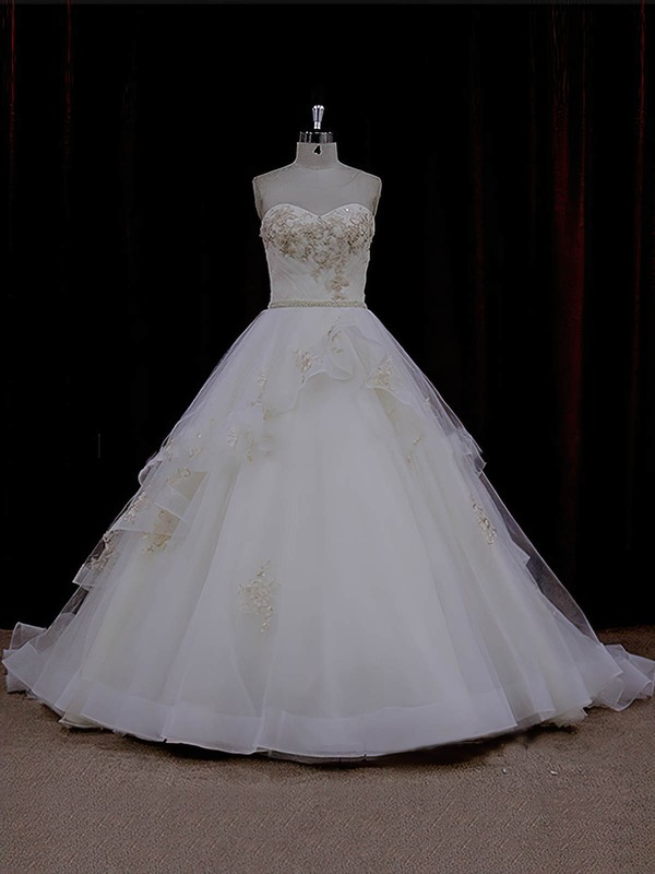 Vintage Sweetheart Ivory Tulle Appliques Lace Chapel Train Wedding Dresses #LDB00021632