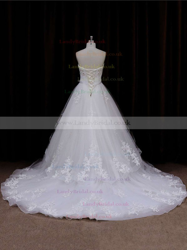 Chapel Train Sweetheart Flower(s) Lace-up Ivory Tulle Wedding Dresses #LDB00021633