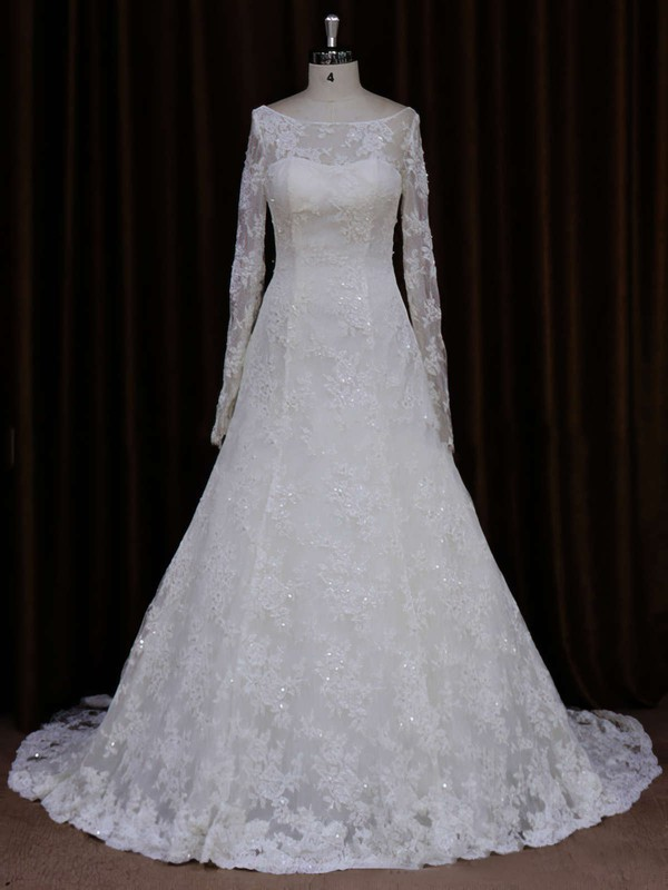 Scoop Neck Ivory Lace Beading Long Sleeve A-line Wedding Dresses #LDB00021634