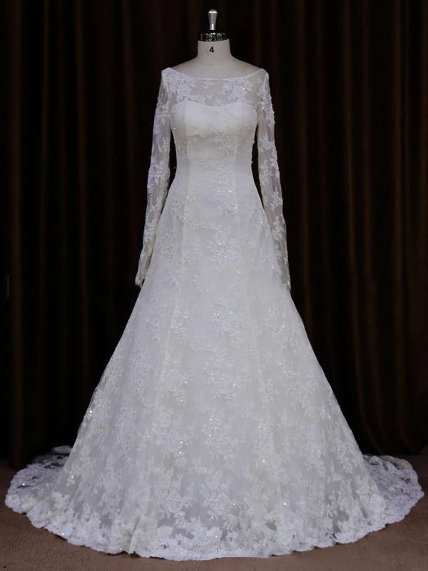 Scoop Neck Ivory Lace Beading Long Sleeve A-line Wedding Dresses #LDB00021634