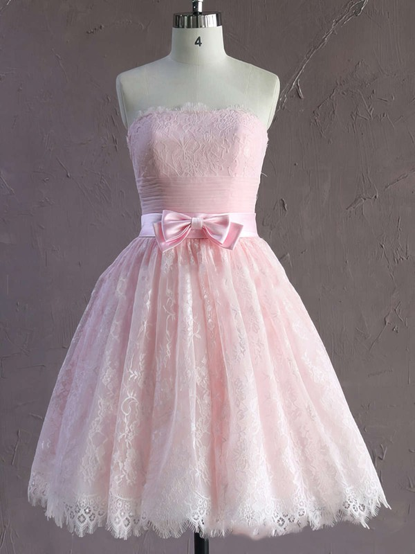Pink Lace Strapless Sashes / Ribbons Short/Mini Cute Wedding Dresses #LDB00021635