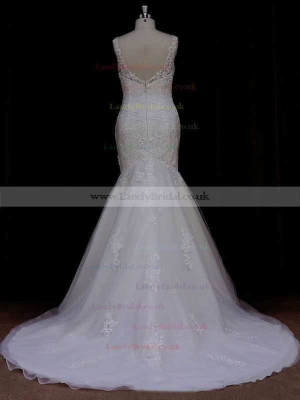 Perfect Trumpet/Mermaid Scoop Neck Tulle Appliques Lace Ivory Wedding Dresses #LDB00021638