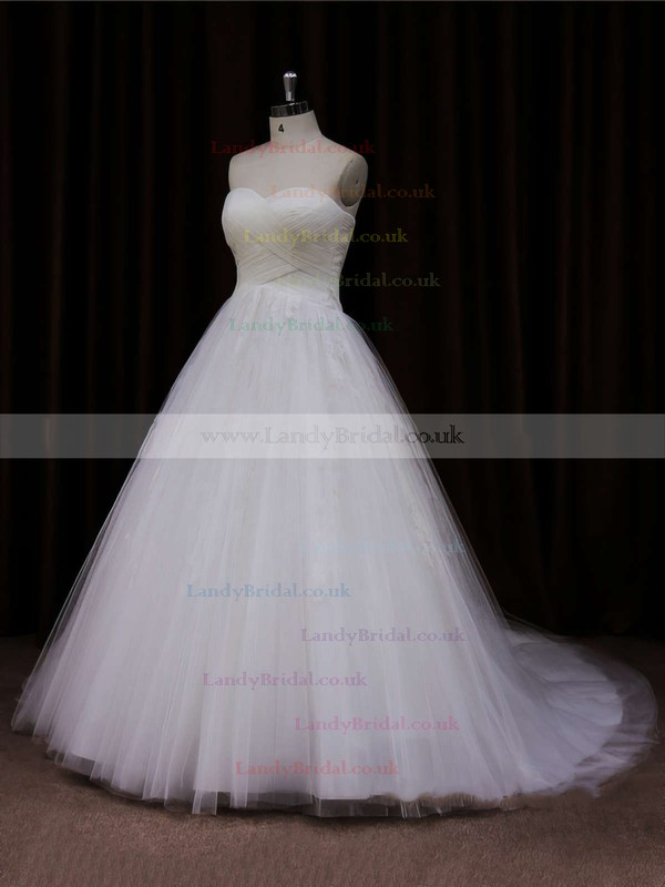 Ivory Sweetheart Tulle Lace-up Appliques Lace Court Train Wedding Dresses #LDB00021639