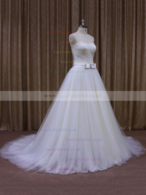 Simple Sweetheart Sashes / Ribbons Ivory Tulle Chapel Train Wedding Dresses #LDB00021640