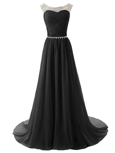 Red Pleats Chiffon Tulle Scoop Neck with Beading Gorgeous Prom Dress #LDB02016795