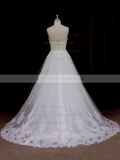 Fashion Ivory Tulle Sweep Train Beading Sweetheart Wedding Dresses #LDB00021641
