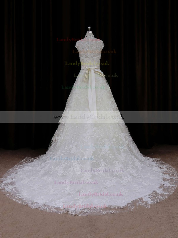 High Neck Ivory Lace Cap Straps Sashes / Ribbons Court Train Wedding Dresses #LDB00021642