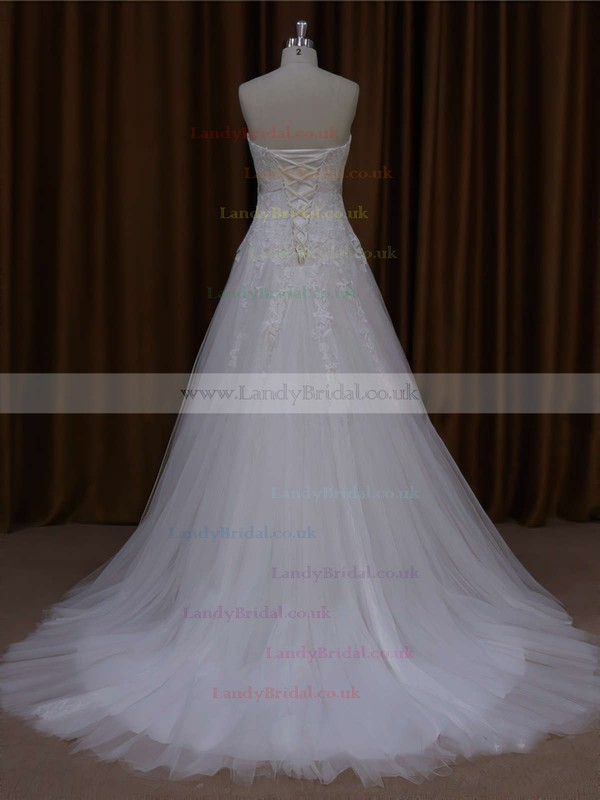 Discounted A-line Tulle Court Train Appliques Lace Ivory Wedding Dresses #LDB00021643