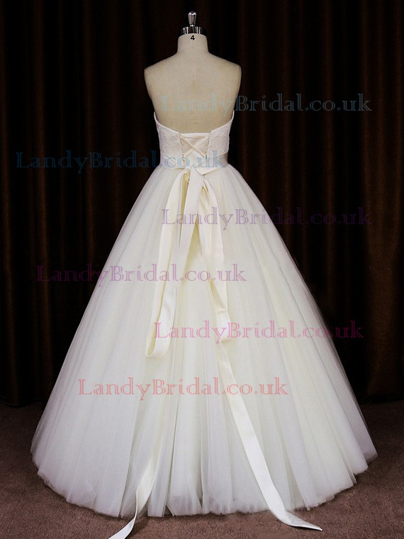 Princess Ivory Tulle Lace-up Appliques Lace Floor-length Wedding Dresses #LDB00021644