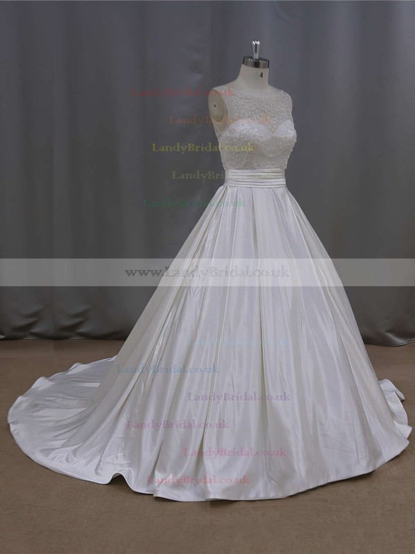 Nice Scoop Neck Pearl Detailing Ivory Satin Court Train Wedding Dresses #LDB00021645