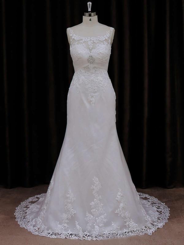 Sweet Trumpet/Mermaid Appliques Lace Scoop Neck Ivory Tulle Wedding Dresses #LDB00021647