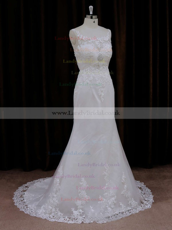 Sweet Trumpet/Mermaid Appliques Lace Scoop Neck Ivory Tulle Wedding Dresses #LDB00021647