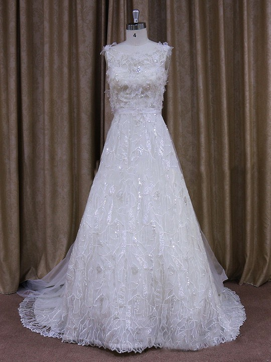 Princess White Lace Tulle Beading Watteau Train Wedding Dresses #LDB00021649