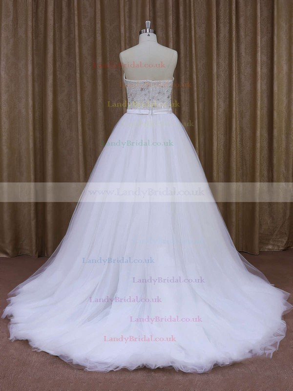 Boutique Sweetheart Tulle Sweep Train Pearl Detailing White Wedding Dresses #LDB00021651