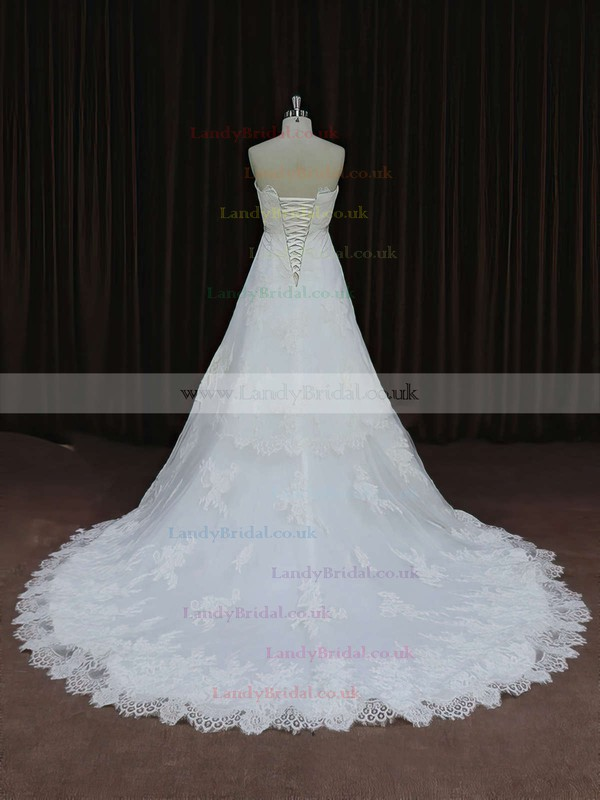 Ivory Strapless Tulle Lace-up Appliques Lace Court Train Wedding Dress #LDB00021652