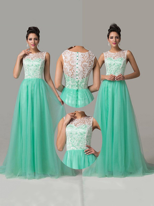 Multi Colours Tulle with Lace Scoop Neck Buttons Sweep Train Nice Prom Dresses #LDB02016812